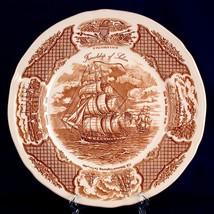 Meakin Dinner Plates Friendship of Salem Fair Winds Brown China Trade Ship - $5.99