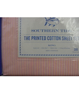 Southern Tide Cabana Stripe Pink Orange Cotton Percale Sheet Set King - $85.00