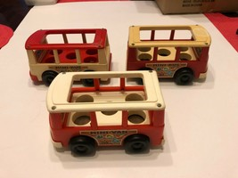 Vintage Fisher Price Little People Mini Bus Red 1969 - Lot of 3 - $20.00