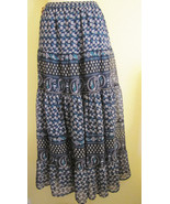 NWT SOLITAIRE CHIFFON TIERED BOHO MAXI LONG SKIRT, SZ L LARGE, NAVY,FLOWER PRINT - $23.89