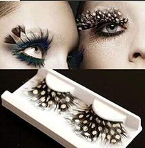 Stage Performances Exaggerated White Dots Feather False Eyelashes 5 Pairs