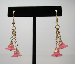 Flower Chain Pink with Purple Crystal Earrings HC - $8.22
