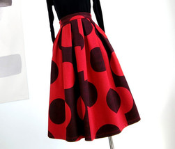 RED Winter Pleated Skirt Women Red Polka Dot Skirt Christmas Outfit Plus Size  image 5