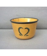 Yellow Blue Heart Spongeware Painted RH85 KASCO POTTERY Custard Dish Cup - $25.00