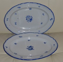 "2 ANTIQUE BOHEMIA POTTERY SERVING TRAYS 13 3/4"" Long by 9 3/4"" WIDE - $149.00"