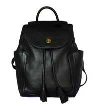 TORY BURCH Frances Black Leather Flap Backpack - $370.26