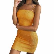 2018 Summer Women Yellow Slash Neck Dress Sexy Spaghetti Strap Bra Hem S... - $36.00