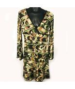 En Focus Long Bell Sleeve Dress Womens 8P Green Brown Stretch V-Neck Pet... - $13.75