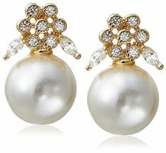Stella + Ruby Gold Plated Wonderland Pearl Cubic Zirconia Crystal Post Earrings