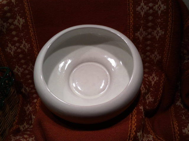 Frankoma Pottery 212 White Round Cupped Bowl Planter