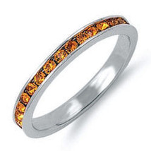 Stackable 1.5mm Yellow Topaz Eternity Band Ring sz 6 - $24.00