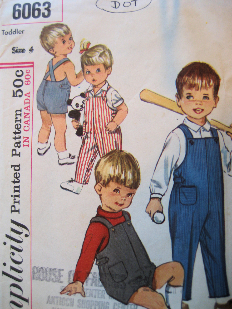 Vintage 1960s Pattern Toddler Size 4 Overalls S6063 Simplicity New Look