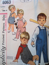 Vintage 1960s Pattern Toddler Size 4 Overalls S6063 - $4.95