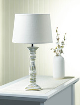Ceramic Table Lamp w/ Fabric Shade Antique Finish Weathered White  - $38.95