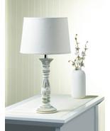 Ceramic Table Lamp w/ Fabric Shade Antique Finish Weathered White  - $38.95