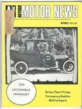 Vtg ANTIQUE MOTOR NEWS November 1974 MAGAZINE Roadster LOCOMOBILE Landau... - $19.79