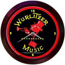 New Wurlitzer Johnny One Note Phonograph old fashioned neon clock Fast F... - $79.95
