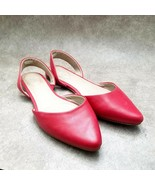 J. Jill Womens  Sz 6 M Red  Leather Slip On Pointed Toe Ballet Flats - $29.99