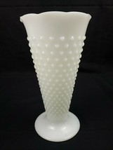 "VTG Anchor Hocking Hobnail Milk Glass Vase 9.5"" Trumpet Style Crimp Top Vase - $11.99"