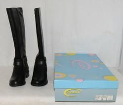 Soda HIROS Black Zip Up Riding Boot Gold Colored Accents Size Six image 1