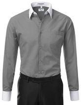 Berlioni Italy Men's Premium Classic White Collar & Cuffs Two Tone Dress Shirt image 6