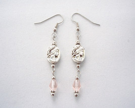Victorian Inspired Cameo Drop Earrings Pink image 6