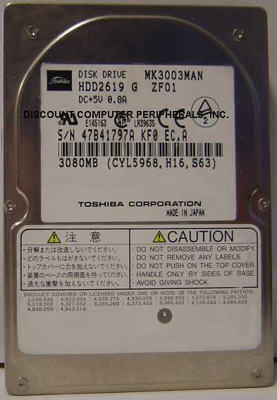"Toshiba MK3003MAN HDD2619 3GB 2.5"" IDE Drive Tested Free US Ship Our Drives Work"