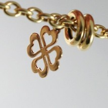 18k YELLOW WHITE ROSE GOLD BRACELET, ROLO, CIRCLE, HEART AND FOUR LEAF PENDANT image 2