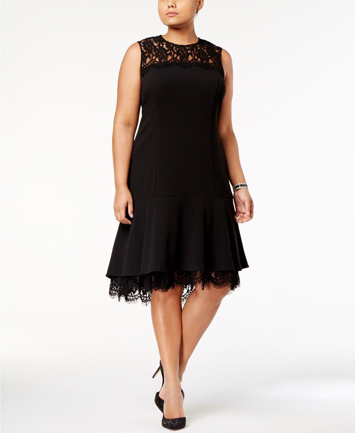 Primary image for Calvin Klein Lace-Trim A-Line Dress BLACK SIZE 0P