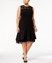 Calvin Klein Lace-Trim A-Line Dress BLACK SIZE 0P - $22.45
