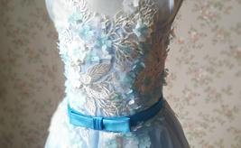 Girl Light Blue Flower Lace Dress High Waist Flower Girl Party Dress Birthday  image 6