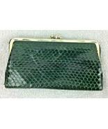 St Thomas Green Cobra Snake Skin Wallet Double Kiss Lock Vintage Saratog... - $39.59