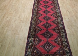 Pink Hamadan Persian Wool Handmade Rug 3x9 All-Over Geometric Rug image 2