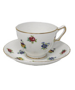 Crown Staffordshire Rose Pansy Footed Bone China Tea Cup and Saucer Gold... - $32.38