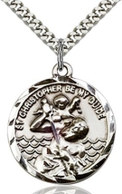 St. Christopher - Pewter  - Pendant on a 24 inch Light Rhodium Curb Chain
