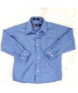 Chaps Blue Boys Long Sleeve Button Down Cotton Blend Dress Shirt Size 6 - $12.86