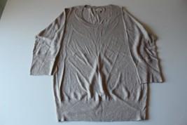 W13238 Womens Ann Taylor Loft Tan/Ecru Viscose Gold Sparkle Sweater Medium - $30.86