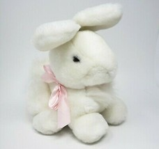 "10"" VINTAGE ENESCO WHITE BUNNY RABBIT W/ PINK BOW STUFFED ANIMAL PLUSH T... - $32.38"
