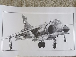 Signed Ed Walby Lithograph 67/100 Royal Navy Harrier Jet Aircraft Plane ... - $49.26