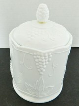 Indiana Glass Milk Glass Small Canister & Lid White Colony Grape Harvest  - $18.69