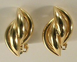 Gold Colored Metal Inter-Woven Braided Twist Small Clip On Earrings  - $12.00