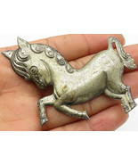 STUART 925 Silver - Vintage Antique Jumping Unicorn Brooch Pin - BP2003 - $68.92