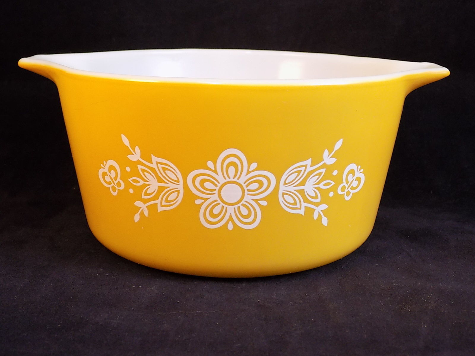 Vintage PYREX 1 Quart BUTTERFLY GOLD Dish #473 Ovenware Mixing Casserole Dish