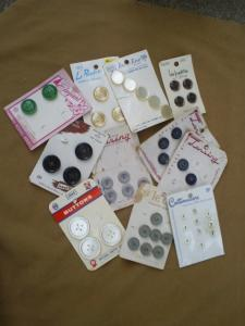 Primary image for Vintage Assortment of Carded Sewing Buttons, Crafting or Collectibles