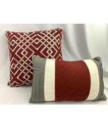 Deep Red Throw Pillows Pillow Lot Embroidered White Gray Accent Cushion Set - $15.80