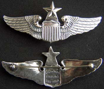 Primary image for WWII Senior Pilot Luxenberg Sterling 3 inch Pin Back