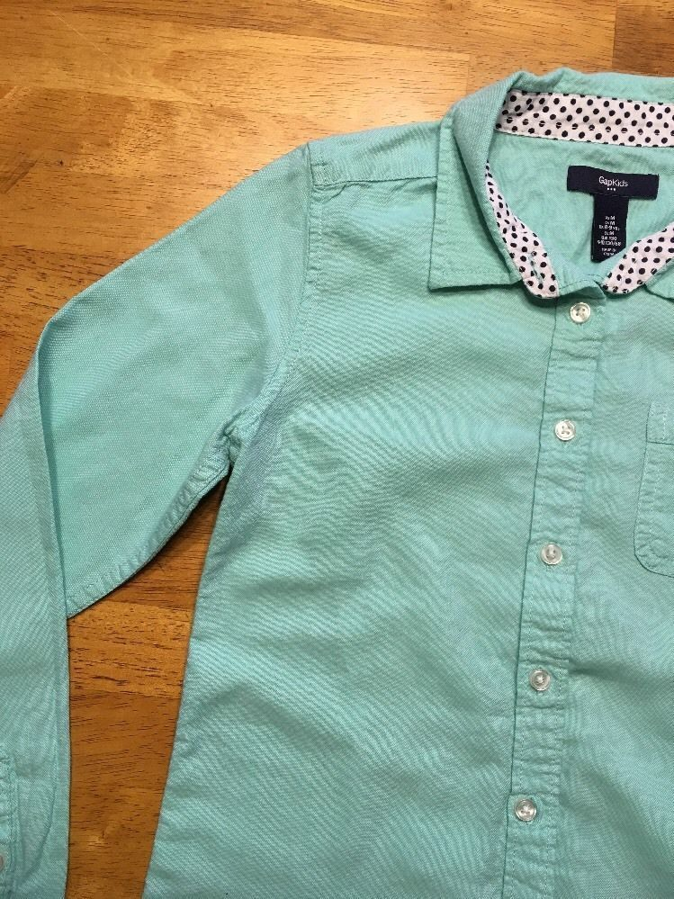 Gap Kids Girl's Teal Long Sleeve Dress Shirt - Size: Medium image 7