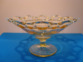 """Lancaster Glass open work yellow 7 """" footed candy dish. - $25.00"""