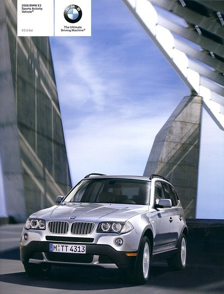 Primary image for 2008 BMW X3 sales brochure catalog US 08 3.0si