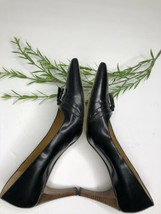 Gucci Classic Black Leather Tassel Wood Heel Pumps Size US 5.5 Italy - $98.01